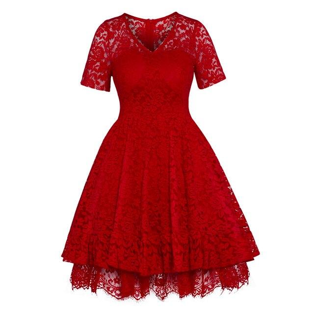 Women Lace Ball Gown Dress Vintage Short Sleeve V-Neck A-line Dress Summer Party Gothic Elegant Celebrity Black High Waist Dress 2