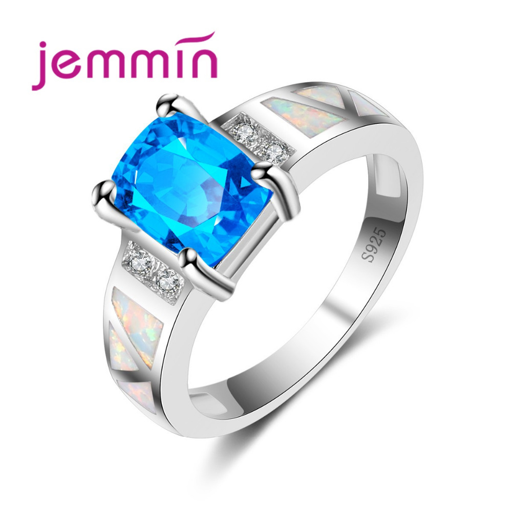 Hot Sale 925 Sterling Silver AAA Blue Crystal & Fire Opal Rings Fashion Jewelry For Women Cocktail Ring