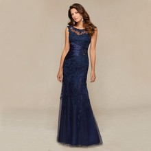 Navy Blue Lace Appliques Beaded Long Mermaid Evening Dresses 2017 Formal Women Prom Gowns Mother of the Bride Dresses