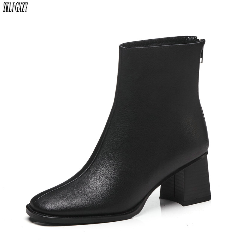 SKLFCXZY New fashion 100% leather women boots 7cm high heel ankle boots girls boots brand leather women shoesSKLFCXZY New fashion 100% leather women boots 7cm high heel ankle boots girls boots brand leather women shoes