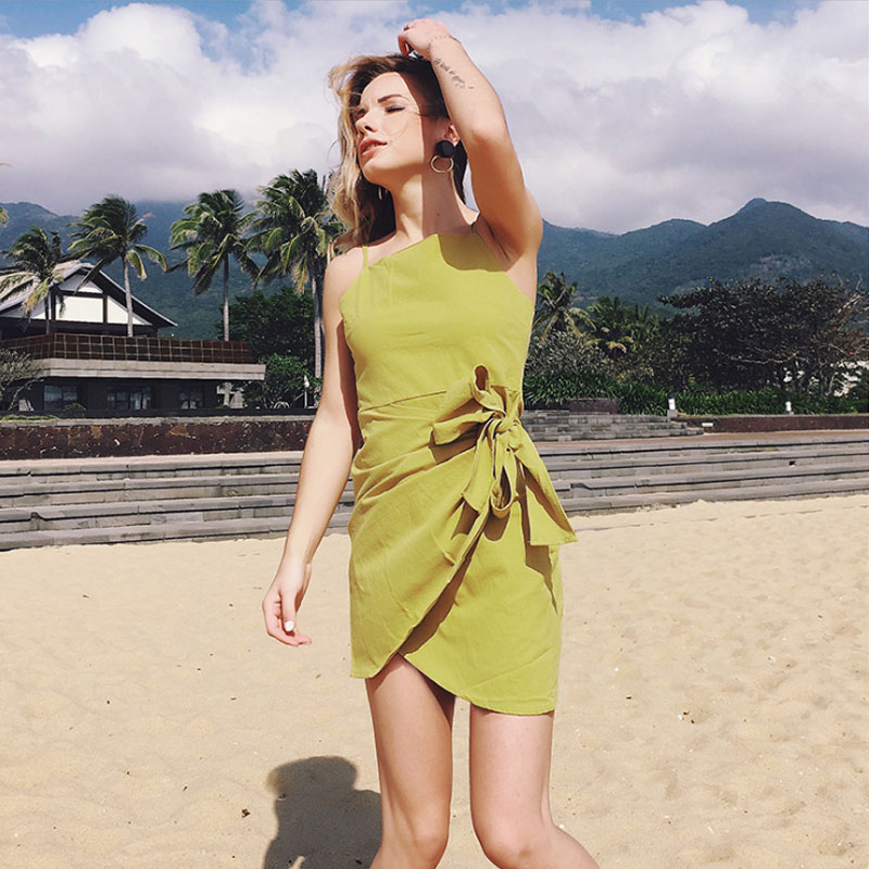 Sexy backless Beach Mini Dress Woman Boho Bowknot irregular Strap Dresses Fashion sleeveless Pure cotton High Quality Dress