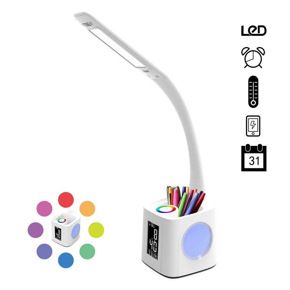 Lampe de bureau à led d'étude avec port usb et écran et calendrier et lumière de nuit de couleur, lampe pour enfants lampe de table à led dimmable avec porte-stylo