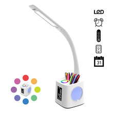 Светодиодная настольная лампа с usb-портом для зарядки, экраном и календарем и цветным ночным освещением, настольная лампа с регулируемой яркостью для детей с держателем ручки и сигнализацией