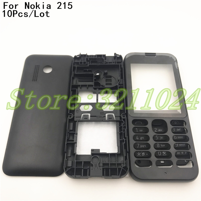 10Pcs/Lot Good quality New Full Housing Cover <font><b>Case</b></font> For <font><b>Nokia</b></font> <font><b>215</b></font> N215 <font><b>215</b></font> Housing Battery Cove <font><b>Case</b></font> with English Keypad+Logo image