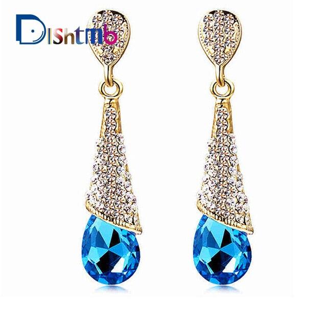 Сплав заявление Австрийский длинные кристалл серьги синий горный хрусталь капли элегантные серьги ювелирные изделия