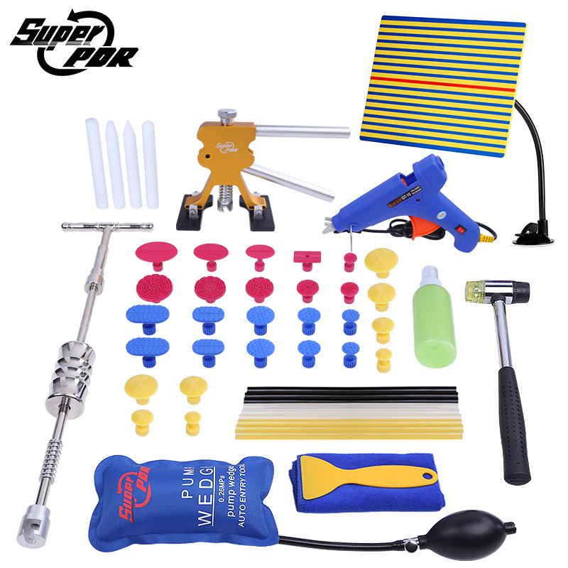 Super PDR Tools Paintless Dent Removal Repair Tool Set Dent Puller Glue Gun Slide Hammer Reflector board air bag hand tools  paintless dent repair tool pdr kit dent lifter glue gun line board slide hammer dent puller glue tabs suction cup pdr tool set
