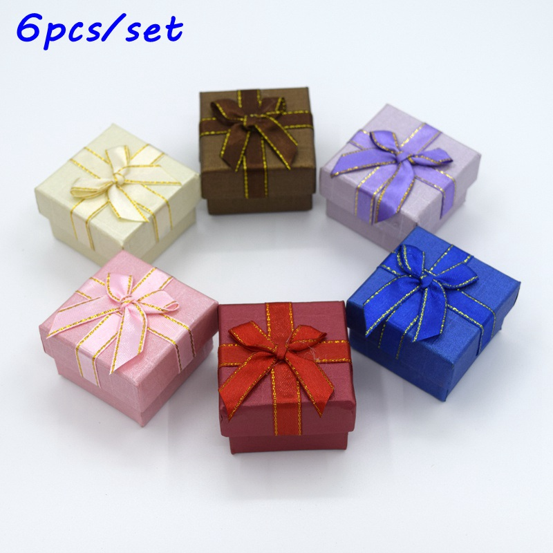 New 6PC 4.3*4.3*3.3cm Jewery Organizer Box Rings Storage Cute Box Small Gift Box For Rings Earrings 6 Colors 2018572