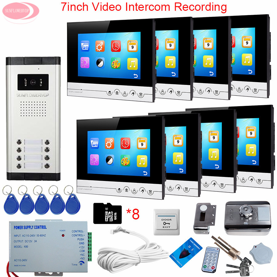 7 Video Doorbell Door Intercom System Recording + 8GB TF Card Video Intercom For The Apartments With 8 Monitors+Rfid Door Lock rfid keyboard ip65 waterproof video doorphone intercom system for 3 apartments with 7 color lcd video intercom system in stock