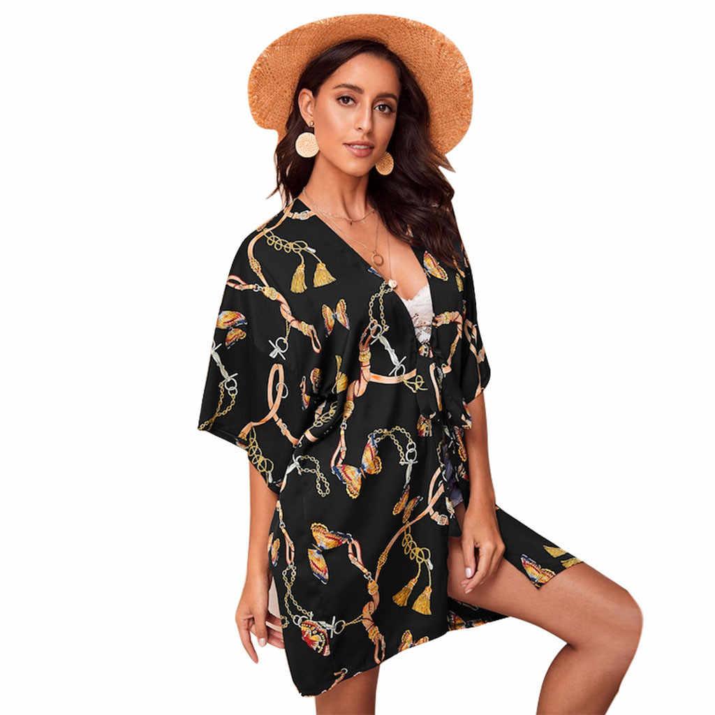 معطف نسائي من FREE OSTRICH برسومات على شكل فراشة وسترة كيمونو كاجول مفتوحة للصيف للنساء موضة وصلت حديثًا لعام 2019
