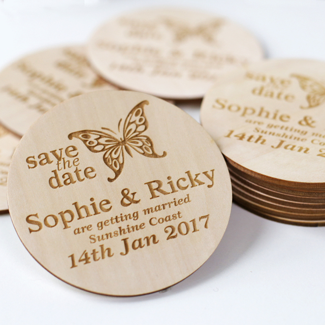 butterfly stlyes wedding save the date magnets personalized elegant