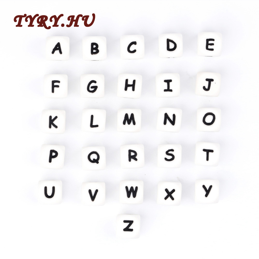 Letter Silicone Beads Baby Teether Beads Chewing Alphabet Bead For Personalized Name DIY Teething Necklace Gifts12mm