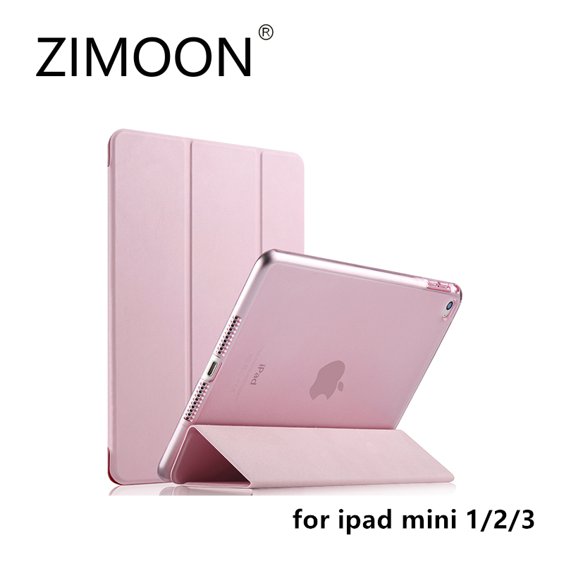 ZIMOON New Case For Apple iPad mini 1/2/3 Ultra Slim Tri-fold PU Leather Smart Cover With Transparent Hard Back slim smart case for ipad mini 1 2 3 4 pu leather smart cover transparent pc hard back case tri fold stand for apple ipad mini 4
