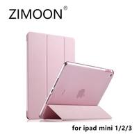 ZIMOON Nieuwe Case Voor Apple iPad mini 1/2/3 Ultra Slim drieslag PU Lederen Smart Cover Met Transparante Hard