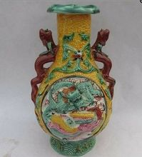 Elaborate Chinese Collectible Decorated Old Handwork Porcelain Carved with Dragon Phoenix Statue Vase No.2