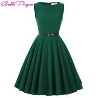 Women Dress 2016 Plus Size Black Red Blue Green Cusal Summer Dress Tunic 1950s 60s Retro