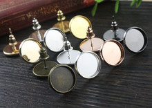 12mm 50pcs 8 Colors Plated High Quality Stainless Iron Earring Studs(with Ear plug) Base,Fit 12mm Glass Cabochons(China)