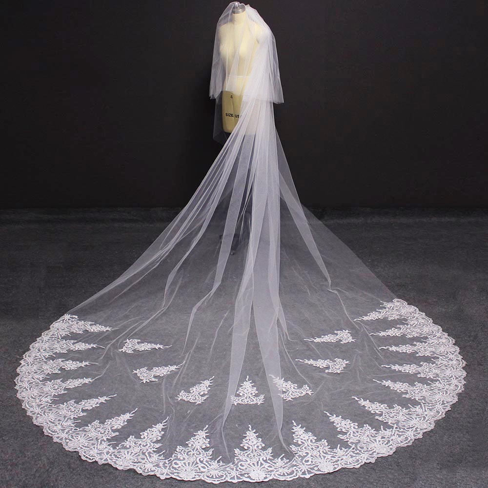 New 4 Meters 2 Layers Long Lace Wedding Veil With Blusher High Quality White Ivory Tulle Bridal Veil Voile Mariage Rouge
