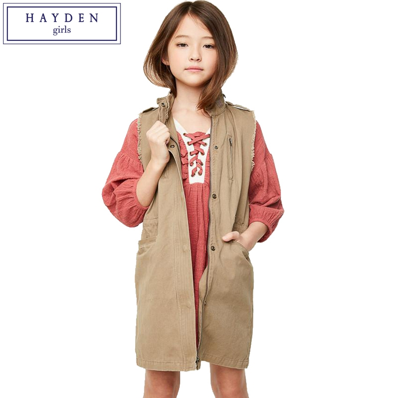 где купить HAYDEN Girls Trench Coat Spring Autumn 2018 New Cotton Sleeveless Cargo Jacket for Teens Girl Age 7 8 9 10 11 12 13 14 Years Old по лучшей цене