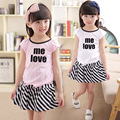 2016 Fashion Summer Children Girls Skirts Sets 2Pcs White T-shirt+stripe Skirt Sets Girls Casual Comfort Sets 2-7 Years