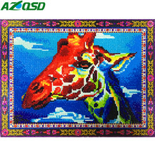 AZQSD Diamant Malerei Kreuz Stich Giraffe Spezielle Form Diamant Stickerei Tier Home Decor Bild Von Strass Mosaik(China)