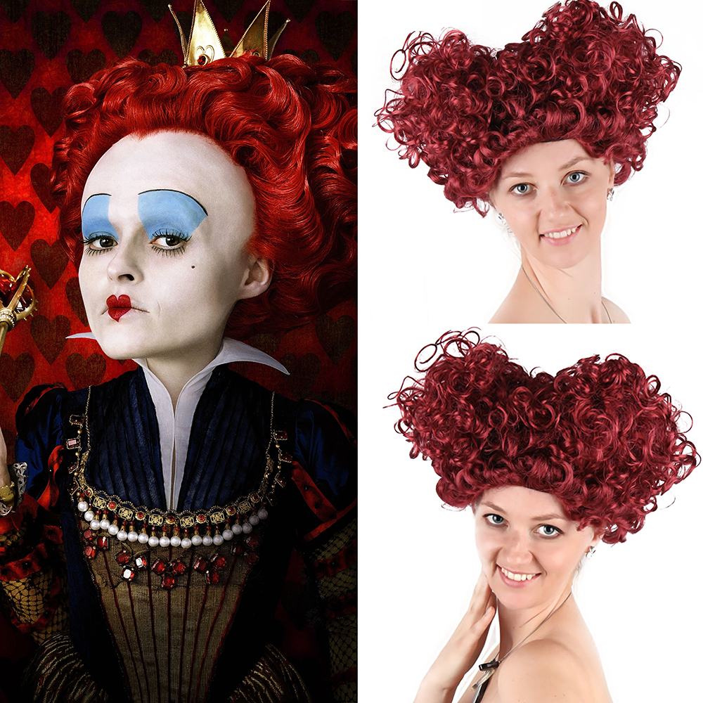 New Queen of Hearts Burgundy Adult Red Queen Perruque Short Afro Curly Alice Storybook Fancy Dress Halloween Costume Accessories ...