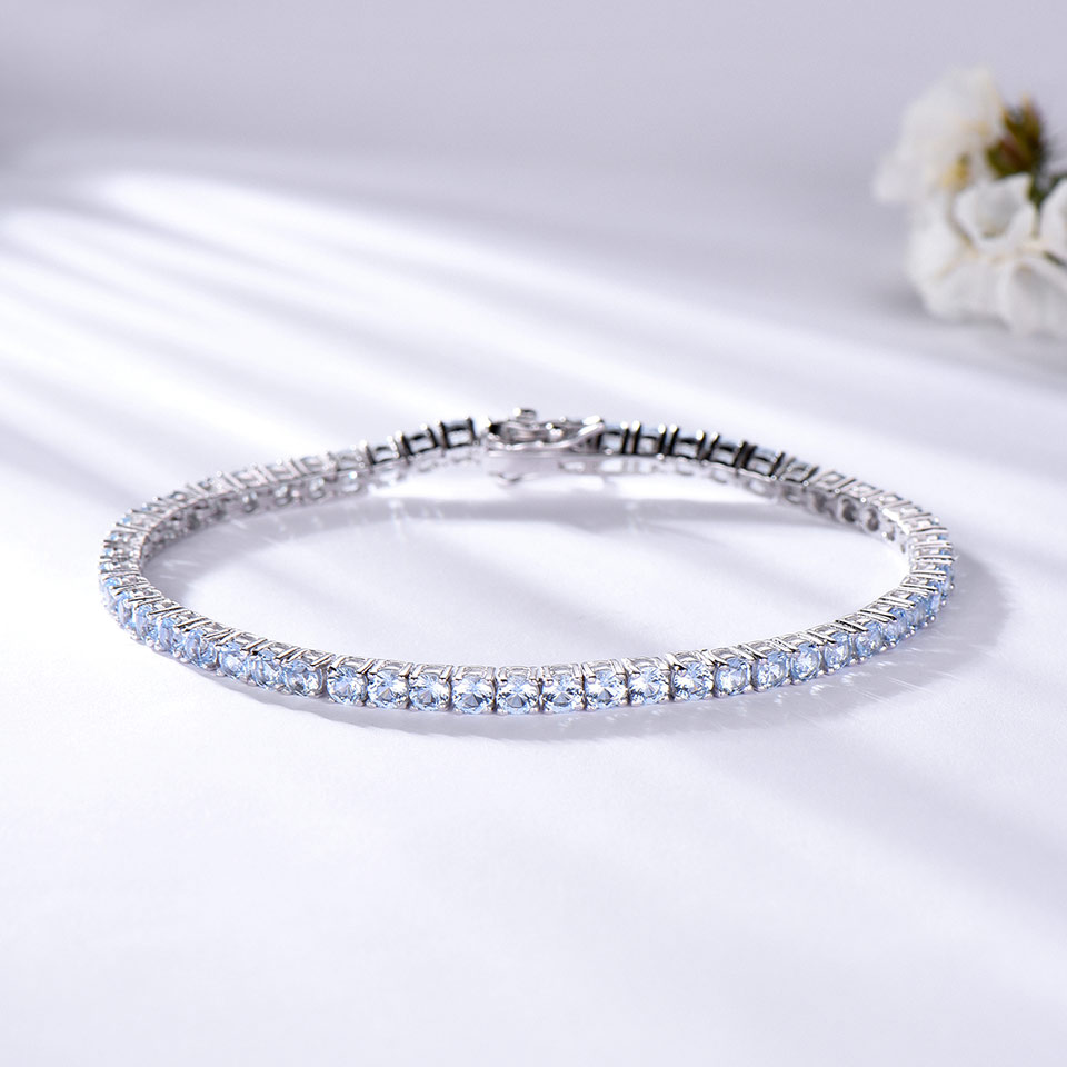 925 Sterling Silver  sky blue topaz bracelet for women (2)