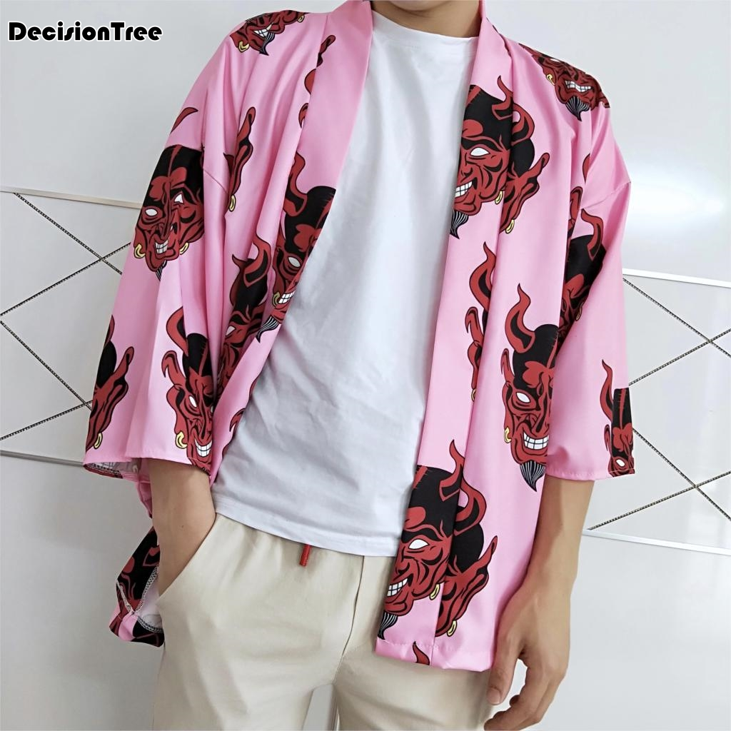 2020 Japanese Ukiyo Printed Kimono Cardigan Jackets Men Male Harajuku Fish Floral Print Casual Streetwear Coat Outwear