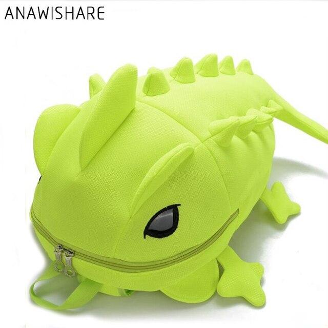 ANAWISHARE дизайнер для женщин рюкзаки мультфильм животных плечо школьная сумка для подростков обувь девочек мальчик Хамелеон ящерица