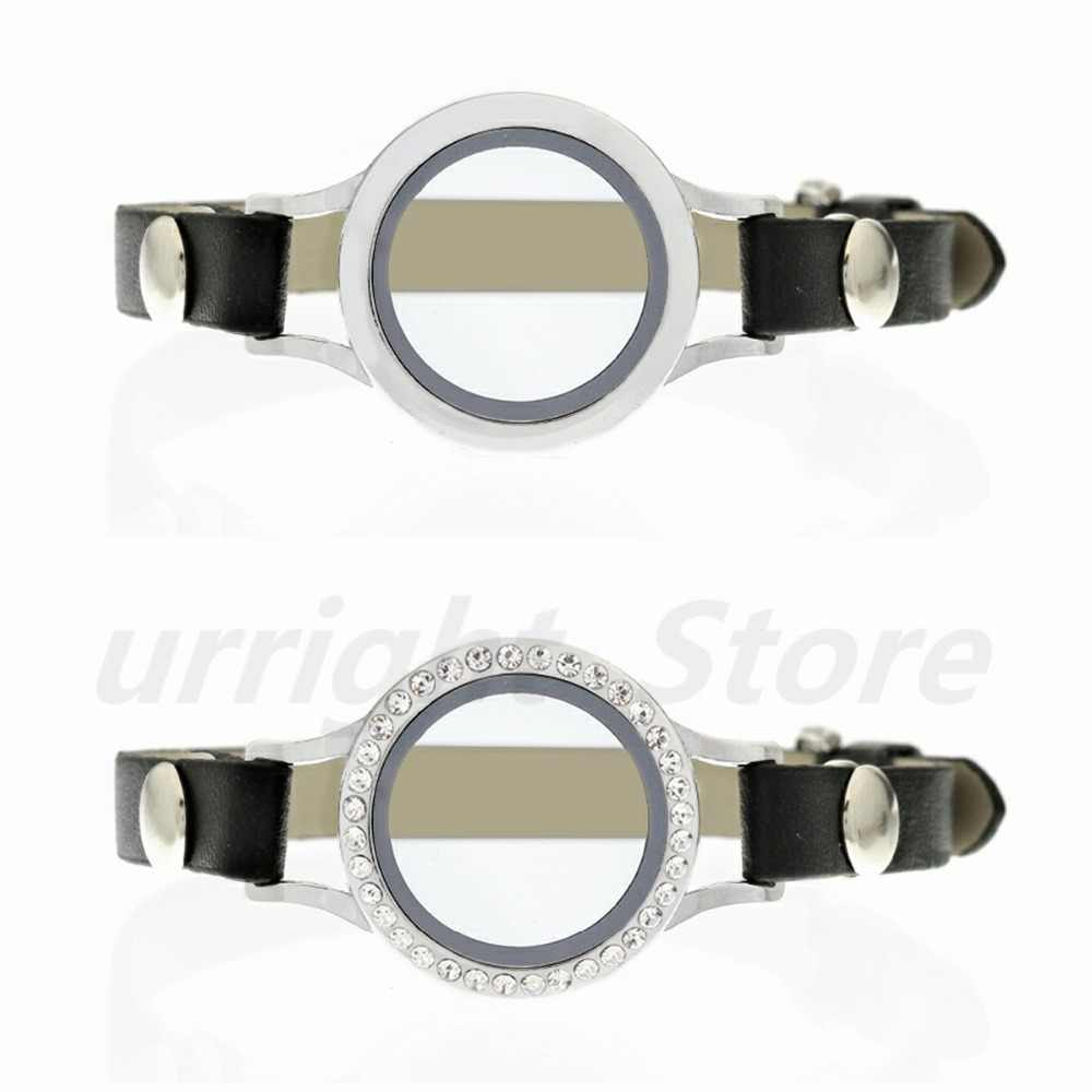 Populaire Ronde Twist Schroefdraad Top Glas Living Memory Medaillon Armband Met Lederen Wrap Armband Fit Drijvende Medaillon Charms