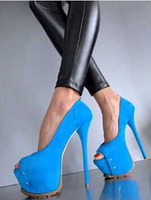 2015 amazing royal blue suede leather peep toe high heels platform stiletto heel pumps