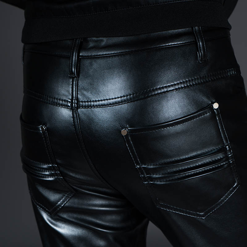 New Winter Spring Men's Skinny Leather Pants Fashion Faux Leather Trousers For Male Trouser Stage Club Wear Biker Pants 22