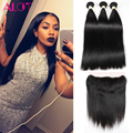 Brazilian Straight Hair With Frontal Closure Ear To Ear Lace Frontal Closure With Bundles 8A Braziian Virgin Hair With Closure