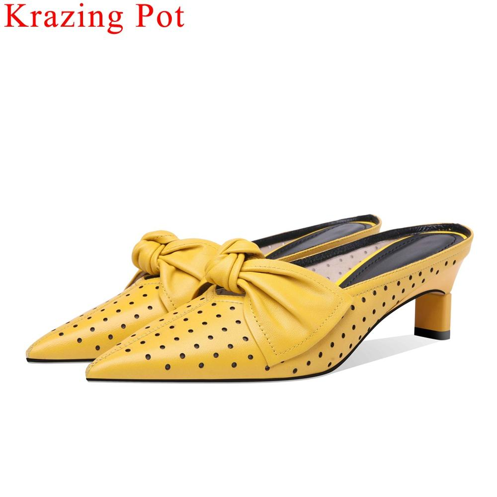 Krazing Pot luxury sheep leather butterfly-knot decoration med heels slip on women pumps pointed toe dating hollow mules L02Krazing Pot luxury sheep leather butterfly-knot decoration med heels slip on women pumps pointed toe dating hollow mules L02
