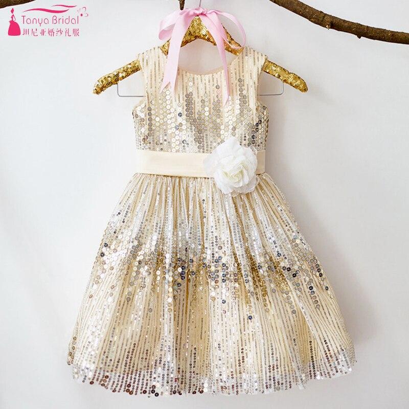 Bling Bling Champagne Gold   Flower     Girls     Dresses   O-Neck Sparkly Sequined   Girls   Pageant Gowns Elegant vestido de daminha ZF103
