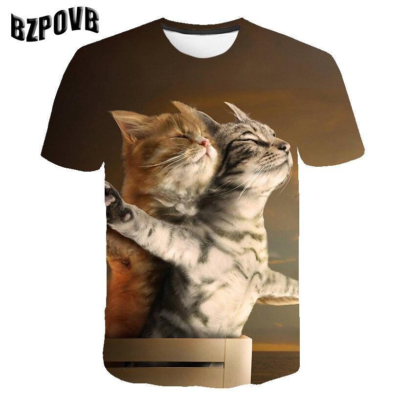 2019 Nova Cool T-shirt Dos Homens/Mulheres 3d Camiseta Imprimir dois gato de Manga Curta Verão Tops Tees camisa engraçada de T masculino XXS-6XL
