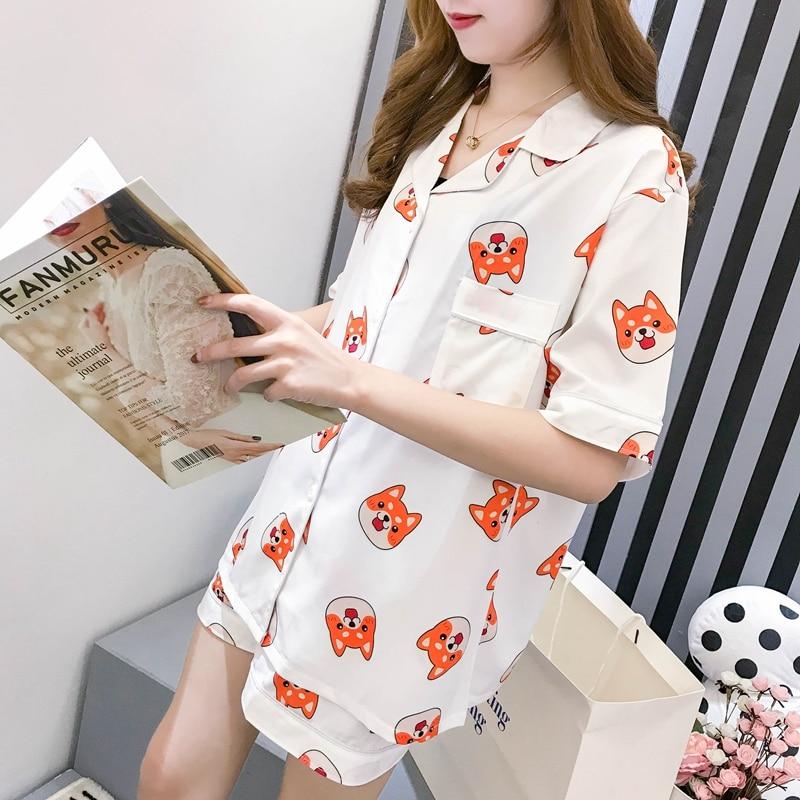 Women Summer Pyjamas Kpop Shiba Kawaii Dog Printed Sleepwear Silk Pijamas mujer   Pajamas     Sets   Girl's kigurumi Nightwear