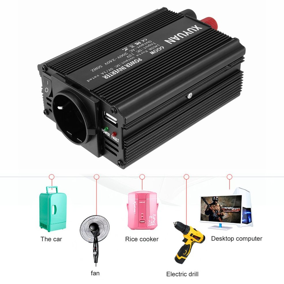 Professional 600W USB Power Inverter DC 12V to AC 220V with LED Indicator Car Converter for Household Appliances|Car Inverters| |  - title=