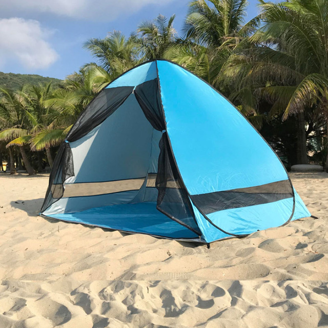 Anti-mosquito beach shade tent with gauze UV protection Automatically camping outdoor portable beach tent with mesh curtain 3