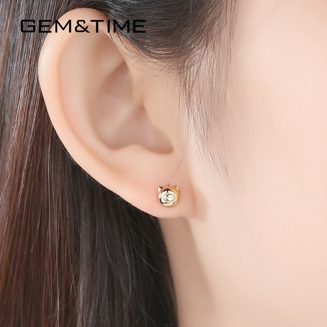 Lucky Pig 14K Gold Stud Earrings 2