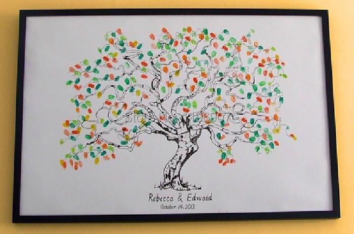Fingerprint Wedding Tree Guest Book Anniversary Gift alternative ...