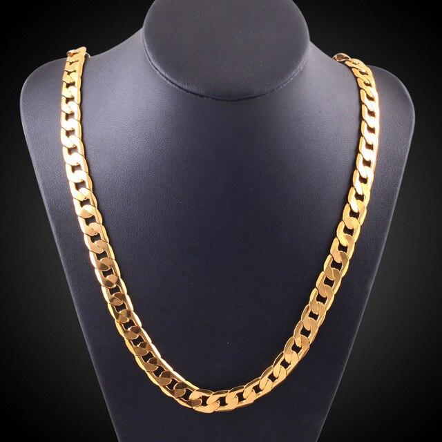 Miami Cuban Chains Gold Color Necklace Men 10MM Width Fashion
