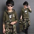 Весна большие мальчики камуфляж одежда набор 3 шт. для детей 100% хлопок очки зеленые большие дети Куртка С Капюшоном Футболка брюки одежда