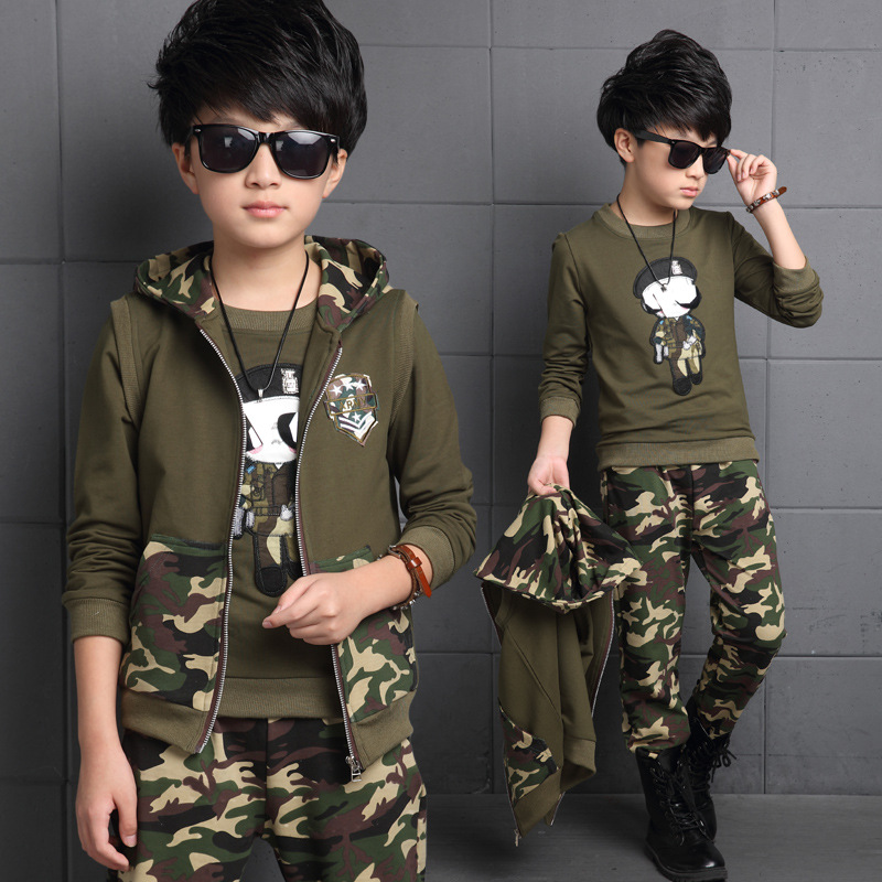 ФОТО Spring big boys camouflage clothing set 3pcs for children 100%cotton glasses green big kids Hooded Jacket T-shirt pant clothes