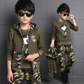 Spring big boys camouflage clothing set 3pcs for children 100%cotton glasses green big kids Hooded Jacket T-shirt pant clothes
