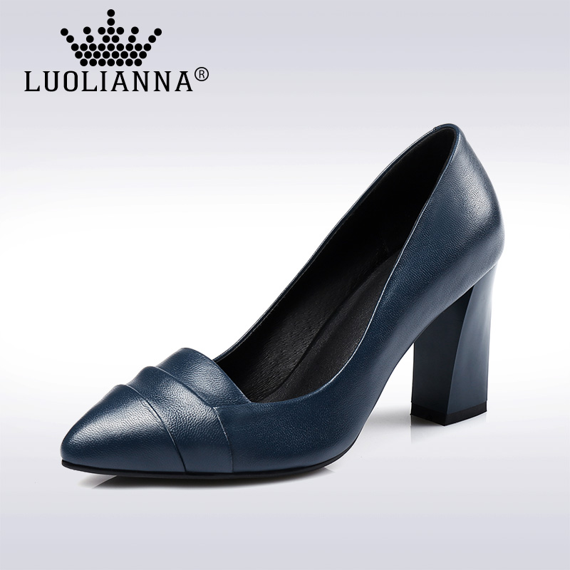 ФОТО  2017 lady shoes pointed toe high heel shoes genuine leather shoes woman foot wrapping shallow mouth thick heel shoes LUOLIANNA