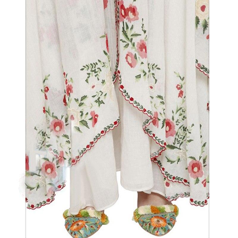 Floral Mujer Verano Sin Vestido Bordado Mangas Vestidos Blanco Bohemio De Tirantes Largo Algodón wP88nqxrYf