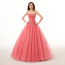 Real Images Coral Color Quinceanera Dress Beads Gown