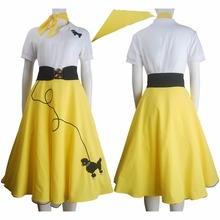 Hip hop fashion poodle skirt halloween costume daily wear women kids girls yellow