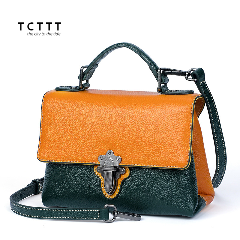 TCTTT Fashion Genuine leather women Top-handle bag Panelled High Quality Shoulder Crossbody bags soft ladies Totes Messenger bag