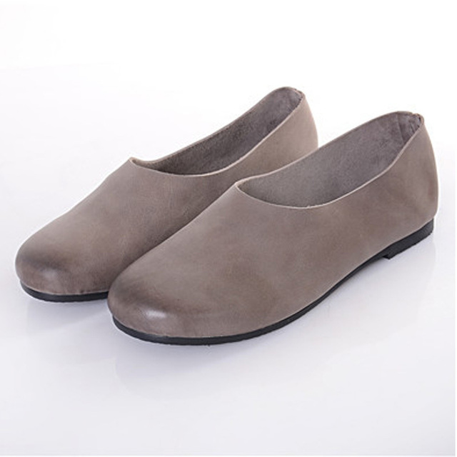 Woman Genuine leather Flat Shoes Brown/Green/Grey female Slip on Loafers Round toe Rubber Sole Vintage Mori Girl Style (1588-1)